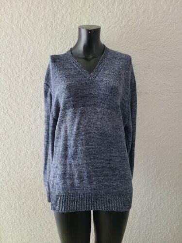 Iris Meain Men's XL Linen V Neck Blue Sweater