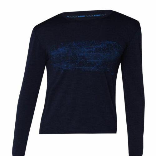 McKinley Herren Freizeit Outdoor Wander langarm Shirt Curra aus Wolle blau