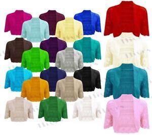 Womens-Crochet-Knitted-Short-Sleeve-Shrug-Ladies-Cardigan-Bolero-Top-Plus-S-4XL