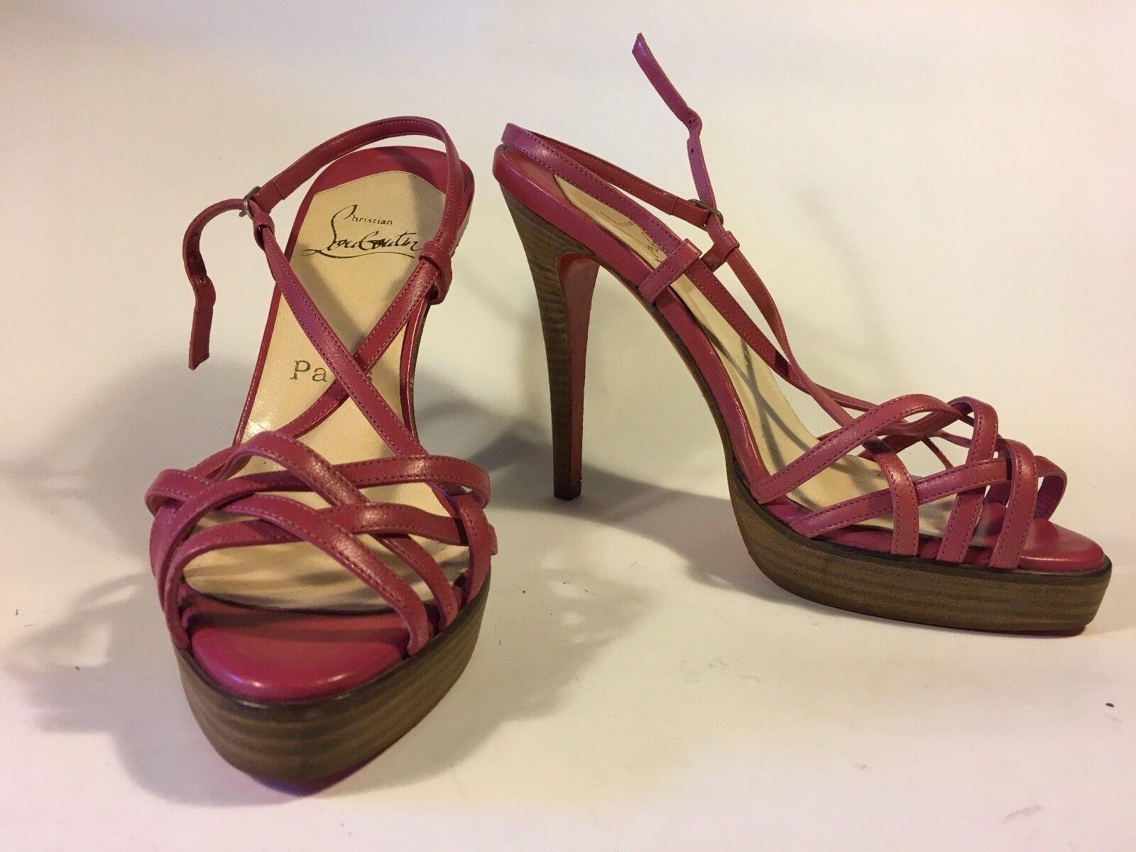 Cómodo y bien parecido Louboutin, Rosa con Tiras Tacón, Verano Zapato Con De Madera Y Cuña 13