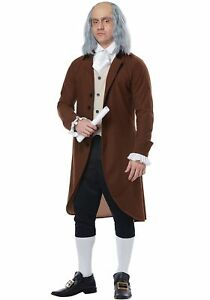 Adult Benjamin Franklin Wig Colonial Man Historical President Founding Father