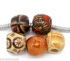 PD: 100 Mix Charm European Holzperlen Tube Muster Perlen Beads 11x12mm