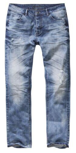 Brandit vuole Denim Jeans Pantaloni STONE SLAVATI UOMO SLIM FIT BLU FASHION