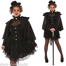 Ladies Black Veiled Victorian Steampunk Inventor Fancy Dress Costume Outfit Hat