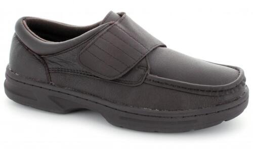 Dr Keller TEXAS para hombre de cuero suave con cierre cómodo amplio Mocasín Zapatos Táctil Marrón