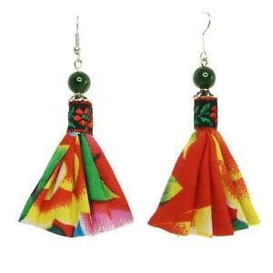 Boucles-D-039-oreilles-femme-Tissu-Coton-Rouge-Motifs-Vert-Jaune-Perle-Pierre-Verte