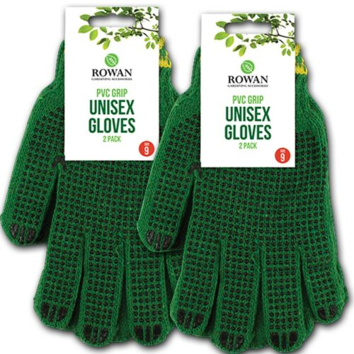 4x Pairs GRIPPED GLOVES Outdoor Garden//Gardening//Decorating Spotted Grip Size 9