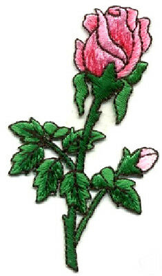 Rose - Pink Rosebud - Garden - Spring - Embroidered Iron On Applique Patch