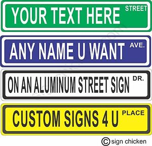 Personalized Street Signs >> Details About Custom Personalized Street Signs Kid S Decor Garage Sign Road Sign Monogram
