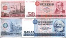RARE DDR (COMMUNIST GERMANY) 50-100 MARK BILLS w MARX & ENGELS! CRISP CLEAN AU!!