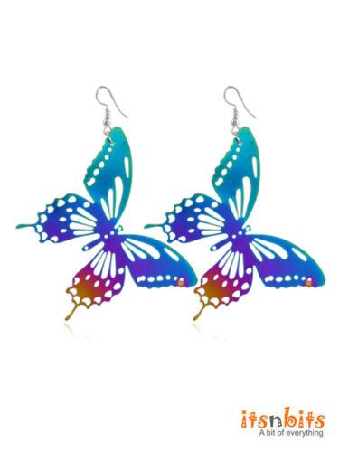 Beautiful Pearlescent Multicoloured Butterfly Metal Earrings Statement Earrings