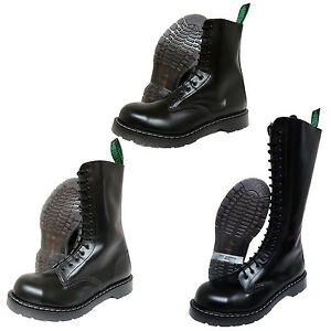 Solovair-NPS-Hand-Made-in-England-Black-Steel-Toe-Boots-Punk-Skinhead-Biker