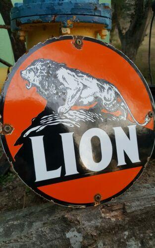 LION GASOLINE porcelain sign gas pump plate vintage lion head gilmore exxon
