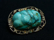 Excellent 1800's Antique Chinese Turquoise Sterling Silver Brooch Pendant