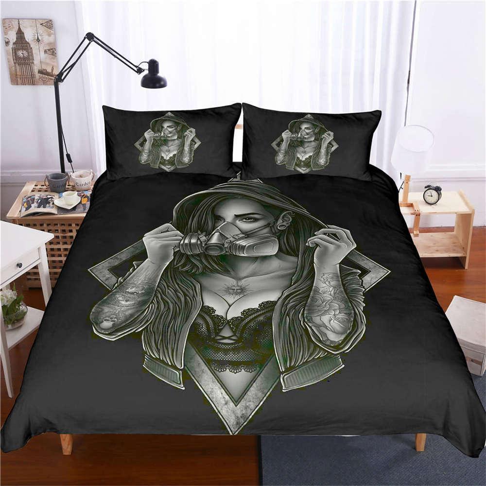 Beauty Wears A Gas Mask 3D Digital Print Bedding Duvet Quilt Cover Pillowcase