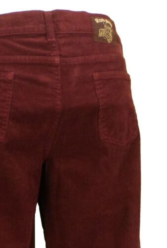 Mens Vintage 60s 70s Retro Burgundy Bootcut Flared Cords