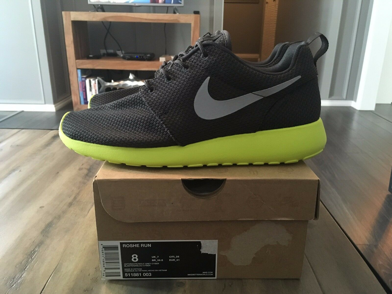 Nike Roshe Run Cyber Wolf Grey Anthracite Size 8 Brand New OG 511881-003