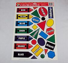 Window Clings ~ CASE LOT 24 SHEETS ~ Primary Colors & Shapes, 28 Reusable Clings