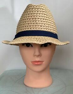 * MONSOON ACCESSORISE * Women's Beige Paper Straw Fedora Hat with Navy Trim 55cm