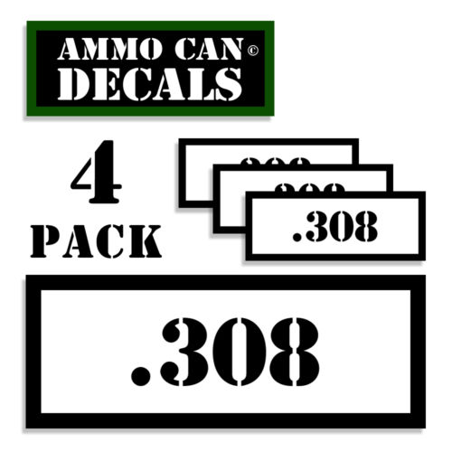 """308 Ammo Can Labels Ammunition stickers decals 4 pack 308 WT 3/""""x1.15/"""""""