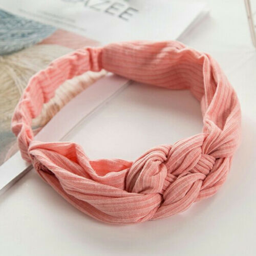 Ladies Girl Twist Knot Headband Elastic Heads Wrap Turban Hair Bands Pure~Color9