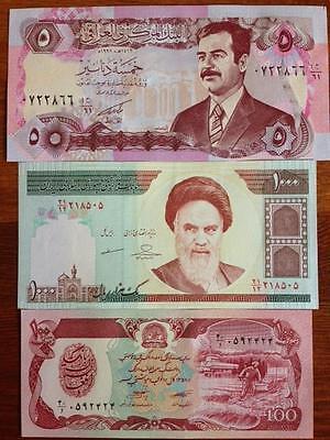 RARE SADDAM KHOMEINI TALIBAN COLLECTOR SET OF (3) UNC NOTES FROM A USA SELLER !
