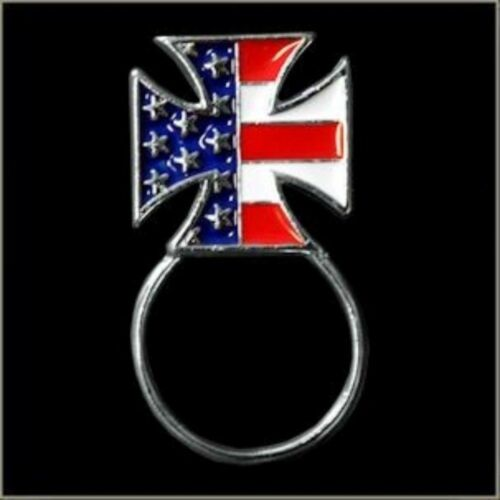 US Flag Maltese Cross Red White Blue w// Sunglasses Holder Biker Pin Made in USA