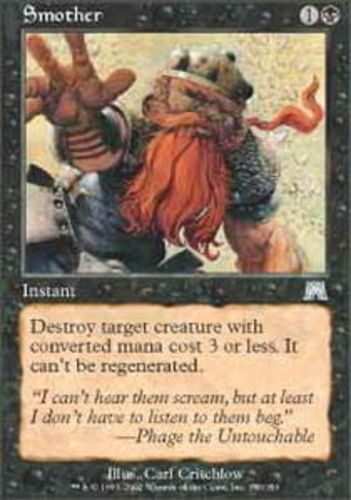 1x Smother - Foil Heavy Play, English Onslaught MTG Magic