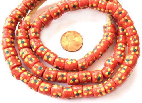Gana Matched Coral Multi Colorido Artesanal De Vidro Reciclado grânulos de Comércio Africano