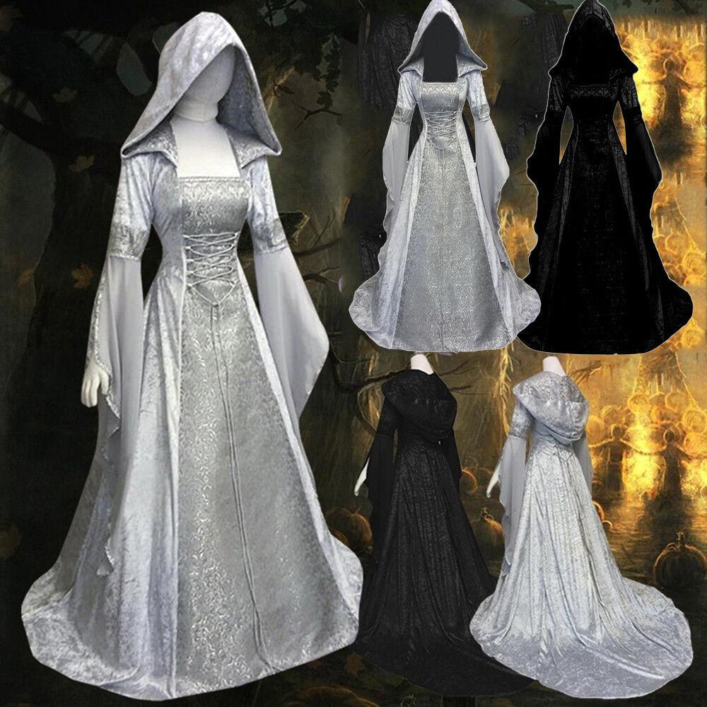 Women's Fashion Long Sleeve Hooded Medieval Dress Floor Length Cosplay Dress CA