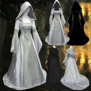 Women-039-s-Fashion-Long-Sleeve-Hooded-Medieval-Dress-Floor-Length-Cosplay-Dress-P