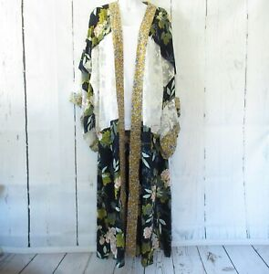 New-Gigio-By-Umgee-Duster-Kimono-S-Small-Navy-Blue-Floral-Lace-Boho-Peasant