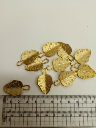 Mixed Media Size... Gold Coloured Metal Leaves With Loop For Jewellery Craft