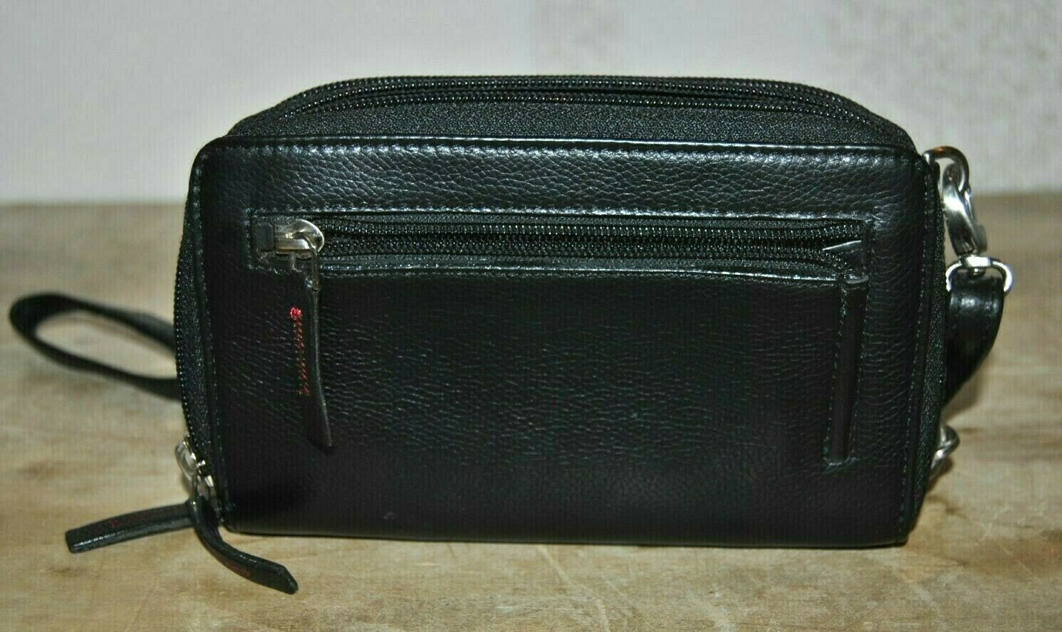 Monsac Genuine Black Leather Over The Shoulder Wallet Multiple Compartments