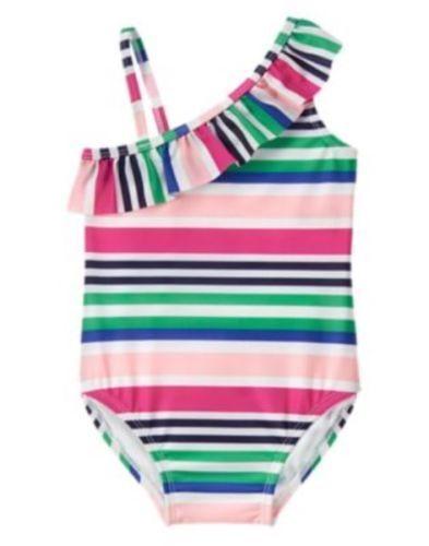 Gymboree NWT 18-24 Mo 3T Swim One piece Stripe Ruffle Swimsuit Pink Blue Black