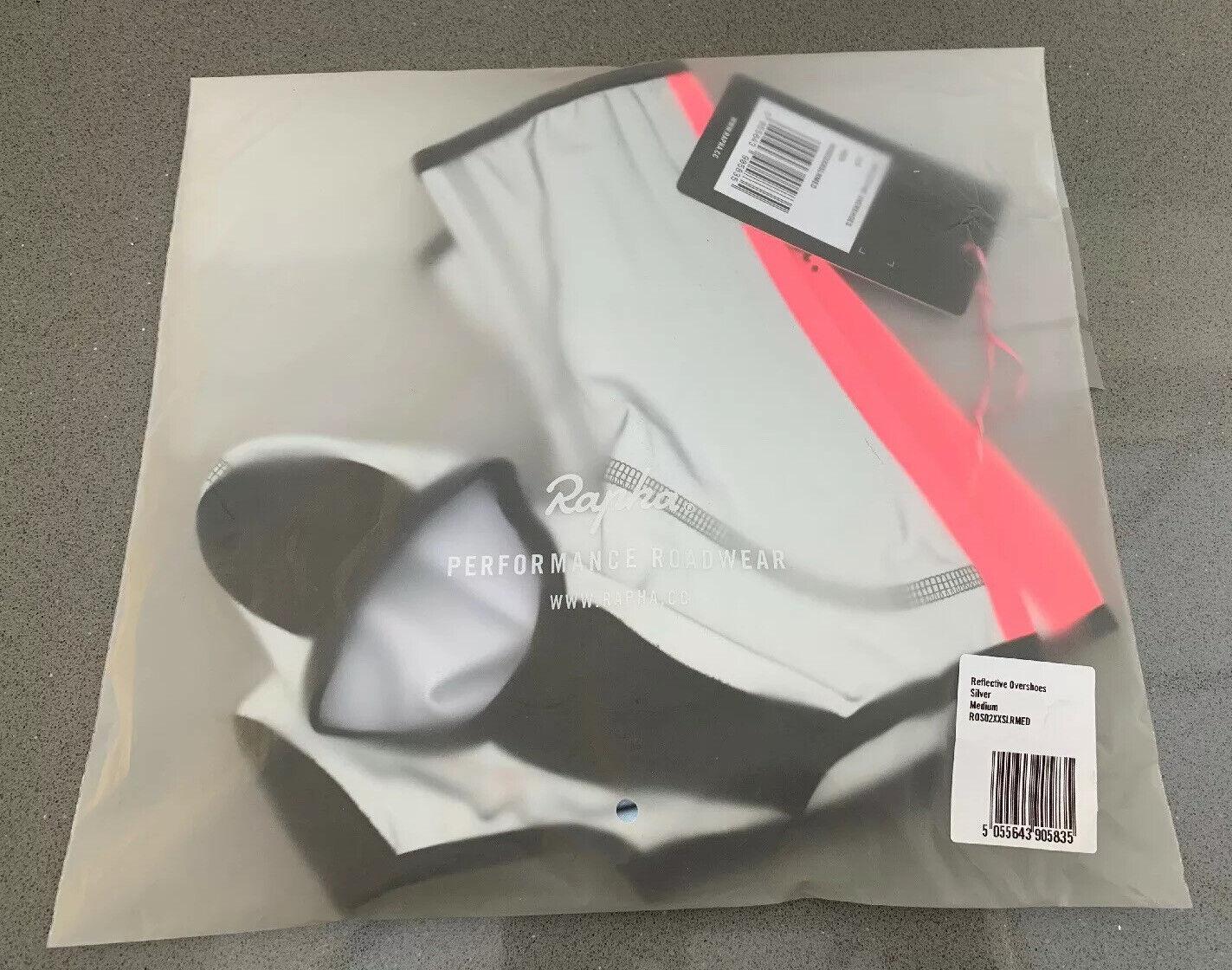 RAPHA Men/'s Silver Nylon Blend Hi-Vis Zipped Reflective Overshoes Size M NEW