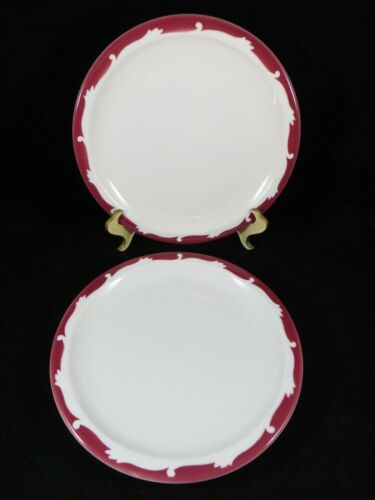"""Syracuse  China Peppermint wintergreen Red  Set of 2 Dinner Plates 9 1//2/"""" EC"""