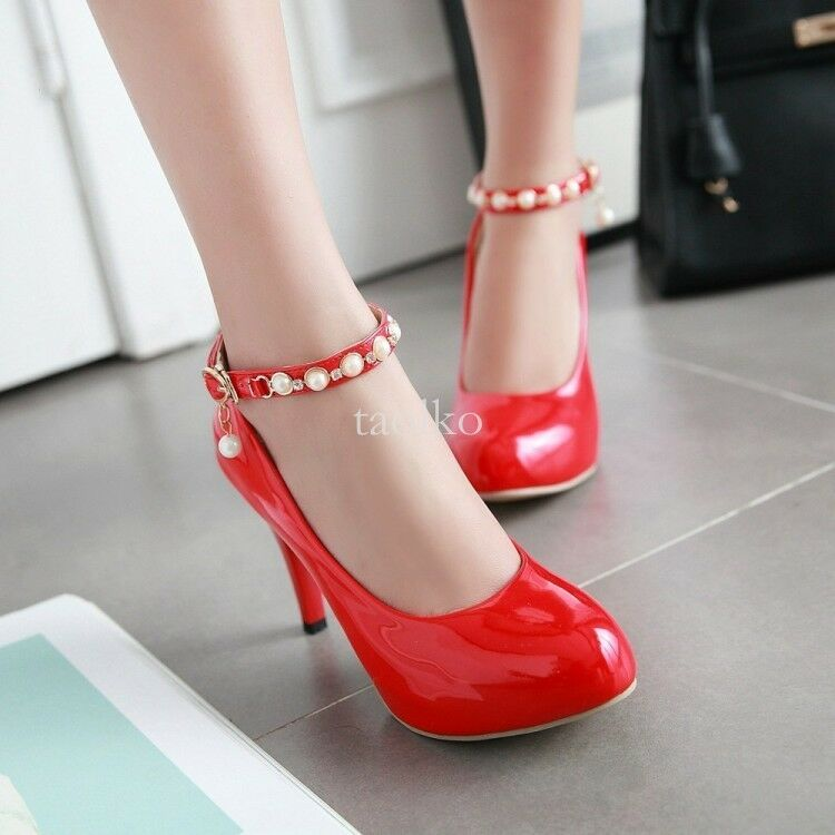 Elegant womens high heels rouind toe ankle strap pu leather pumps party shoes sz