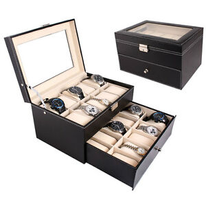 20-Slot-Watch-Box-Leather-Display-Case-Organizer-Top-Glass-Jewelry-Storage-Black