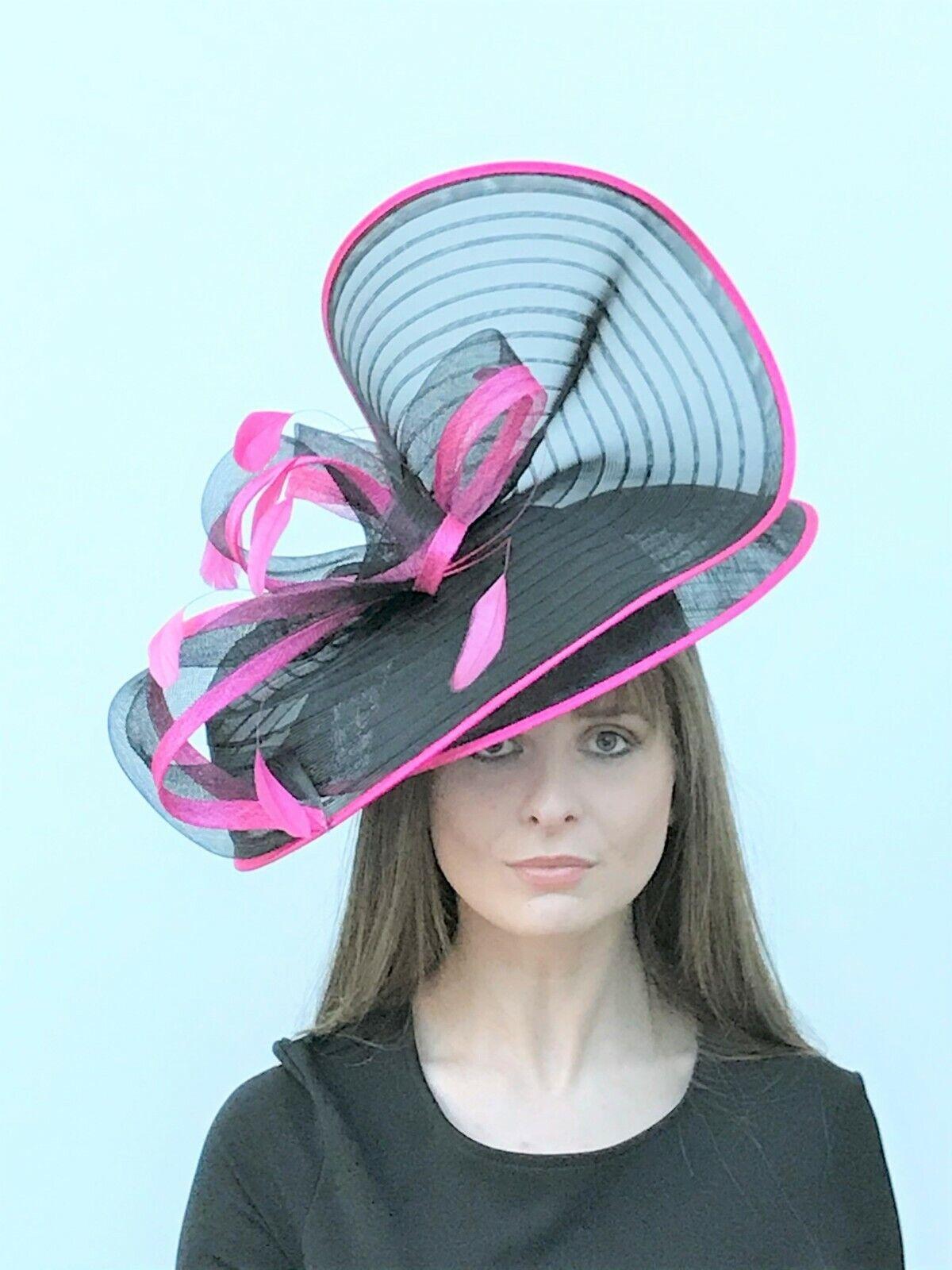 Black & Fuschia Pink Hatinator / Fascinator - Wedding, Ascot, Races