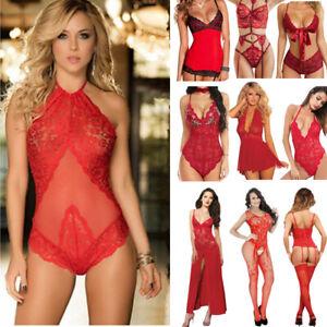 Rot Damen Sexy Unterwäsche Spitze Anzug Dessous Babydoll Bodysuit Nachtwäsche DE