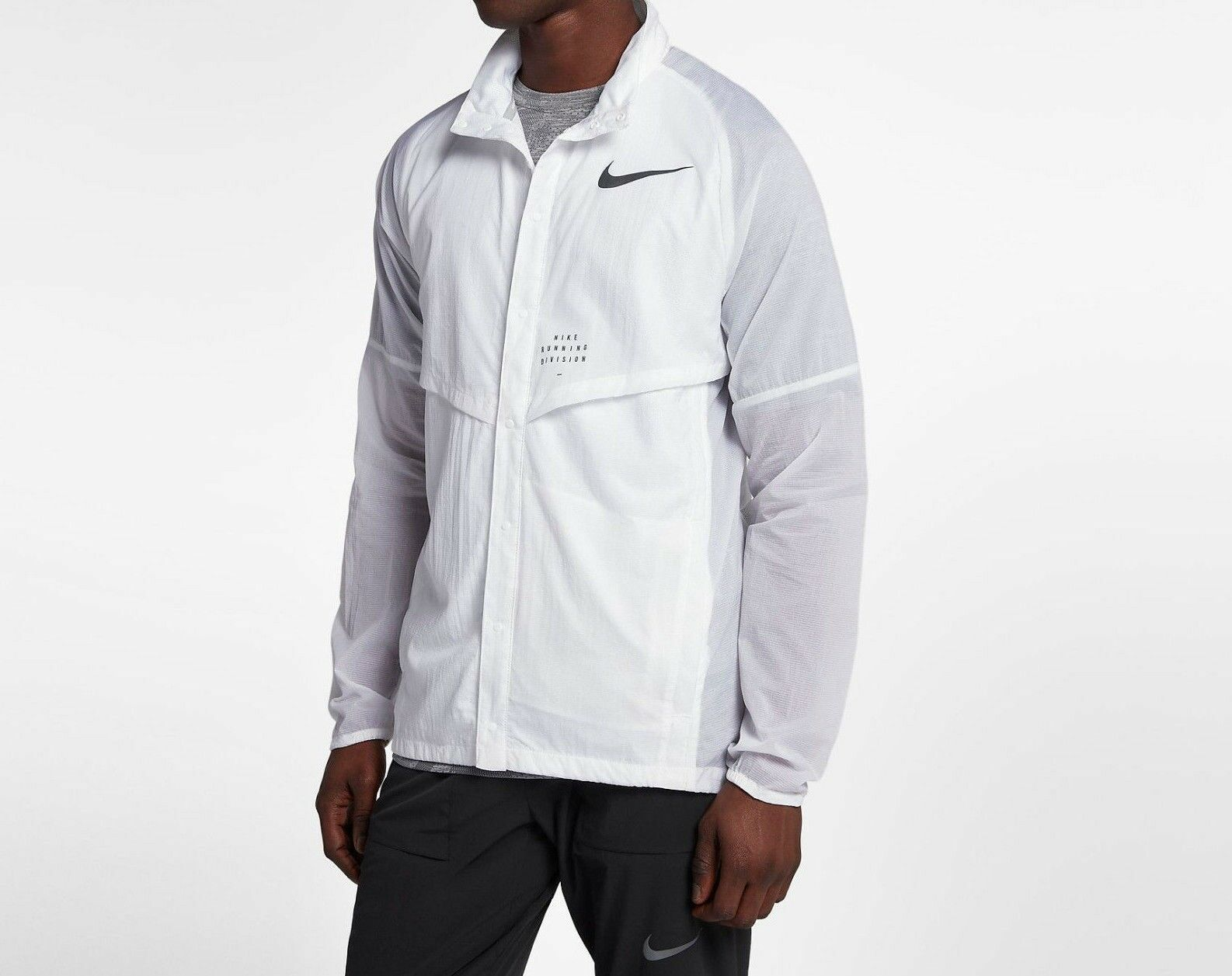 Nike Run Division Running Jacket White With Reflective Trim Packable Mens  Large