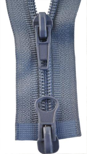 Reißverschluss  2 Wege Spirale grau 80.90 oder 100 cm lang