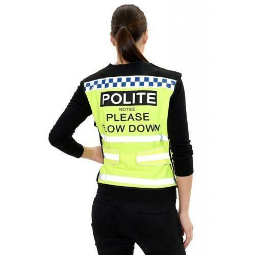 EQUISAFETY POLITE HORSE HI VIS WAISTCOAT - PLEASE SLOW DOWN EQUINE HORSE PONY