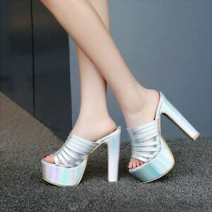 Roman Ladies Strappy Slipper Platform Open Toe High Block Heel Shoe Mule Red US8