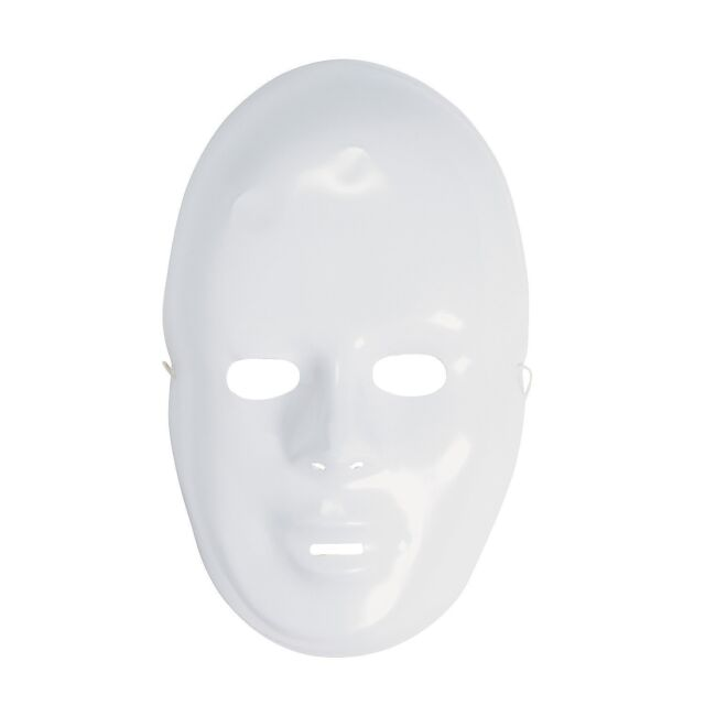 12-pack Plastic Halloween White Drama Party Kids Face Masks, New, Free Shipping