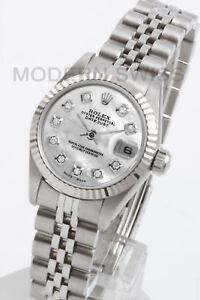 Rolex-Ladies-Datejust-Steel-White-MOP-Diamond-18K-Gold-Jubilee-69174-Quickset