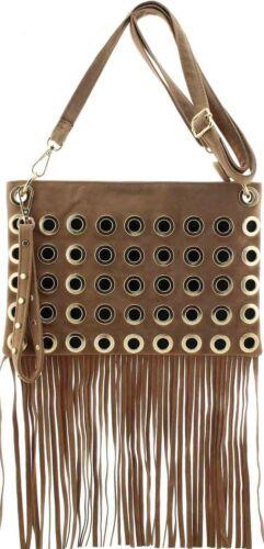 Ladies Faux Suede Metal Eyelet Tassel Fringe Bag Shoulder Strap Handbag H02