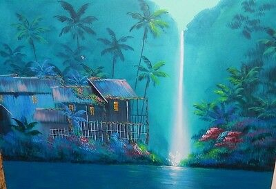 Daniel Kim Hawaiian Landscape Huge Original Oil On Canvas Painting
