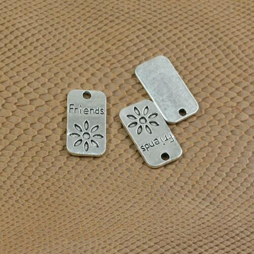 20pcs Alloy Flower Friends Engraved Charms Pendants Jewelry Making Findings